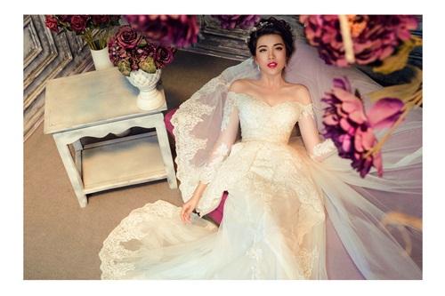 Á hậu Lệ Hằng quyến rũ với váy cưới 14