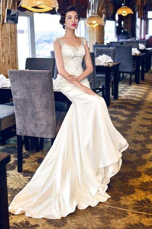 Á hậu Lệ Hằng quyến rũ với váy cưới 2