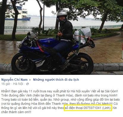 Cô gái đi xuyên Việt bị mất ba lô 'tiền' 1