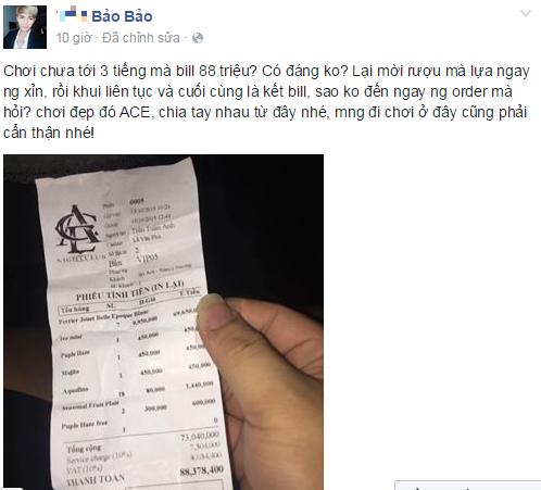 Bất ngờ với hóa đơn đi bar 88 triệu đồng ở Sài Gòn 1