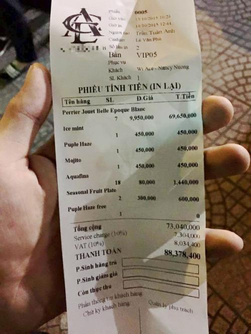 Bất ngờ với hóa đơn đi bar 88 triệu đồng ở Sài Gòn 2