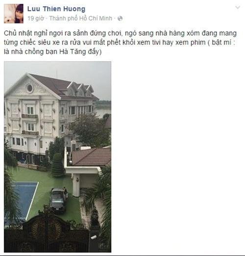 Facebook sao Việt: Lưu Thiên Hương tiết lộ là hàng xóm của Hà Tăng 1