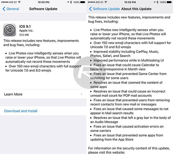 Apple chính thức phát hành iOS 9.1 2