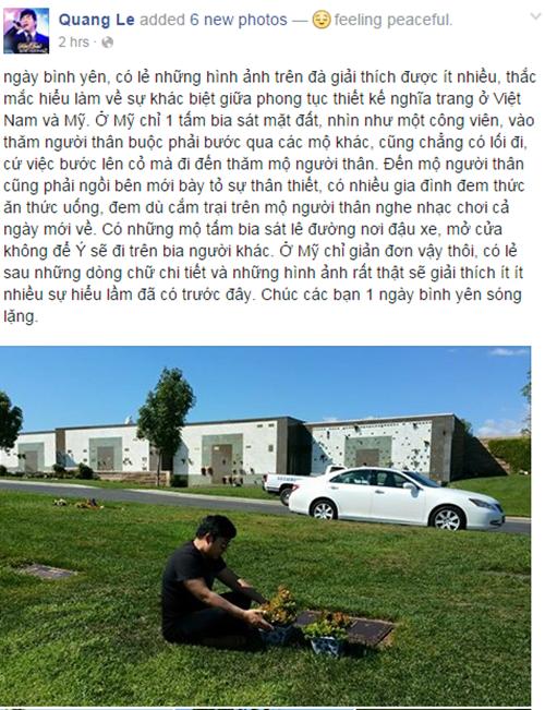 Quang Lê lên tiếng giải thích sau sự cố ngồi lên mộ  1