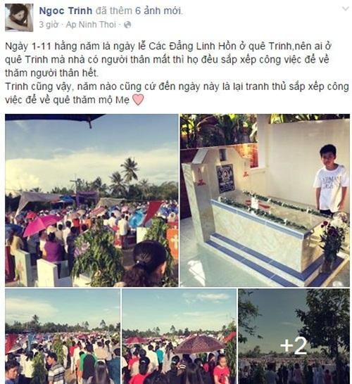 Facebook sao Việt: Ngọc Trinh lặng lẽ, suy tư viếng mộ mẹ 1