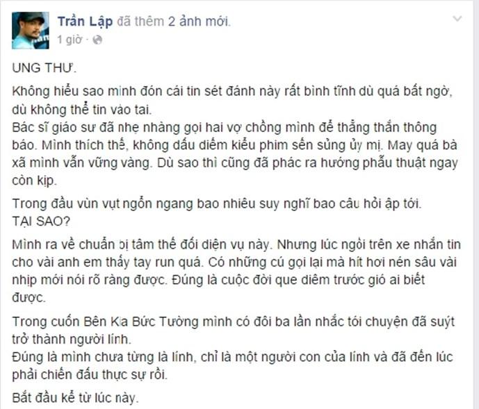Tin ca sĩ Trần Lập bị ung thư khiến cộng đồng mạng sốc 1