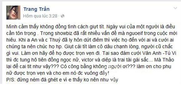 Facebook sao Việt: Ngọc Thúy 'khẩu chiến' với Trang Trần 2