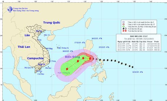 Tin mới nhất bão Melor: giật cấp 16, đổi hướng tiến vào Biển Đông 1