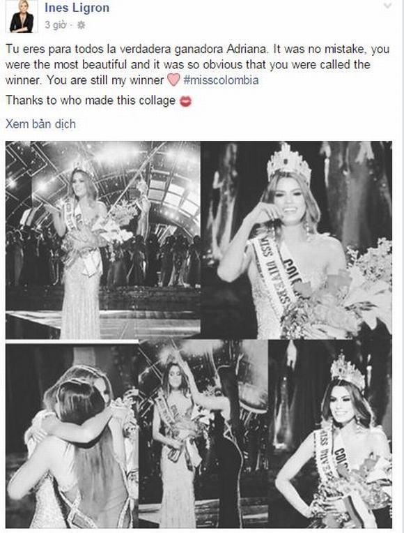Bà trùm Hoa hậu an ủi Miss Colombia: 'Với tôi bạn vẫn là người chiến thắng' 2
