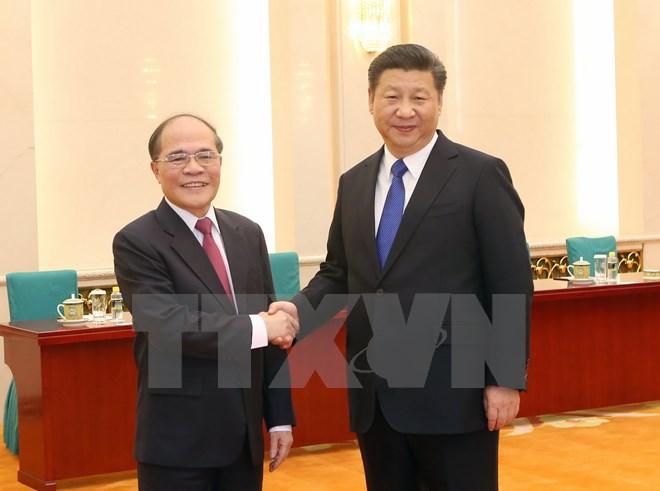 Chủ tịch Quốc hội Nguyễn Sinh Hùng hội kiến Chủ tịch Trung Quốc 1