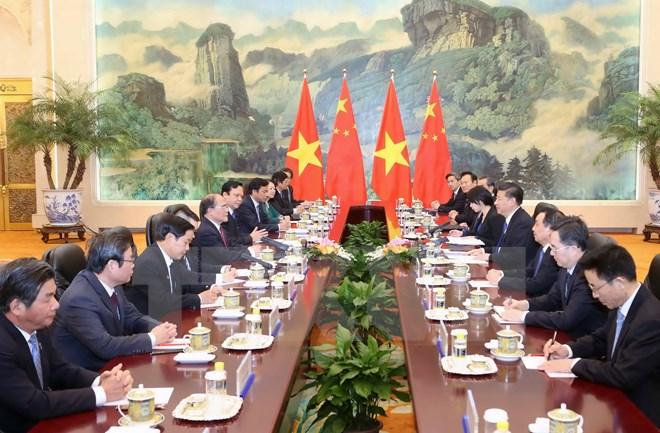 Chủ tịch Quốc hội Nguyễn Sinh Hùng hội kiến Chủ tịch Trung Quốc 2