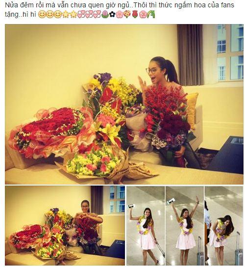 Facebook sao Việt: Phạm Hương thức đêm ngắm hoa fan tặng 1