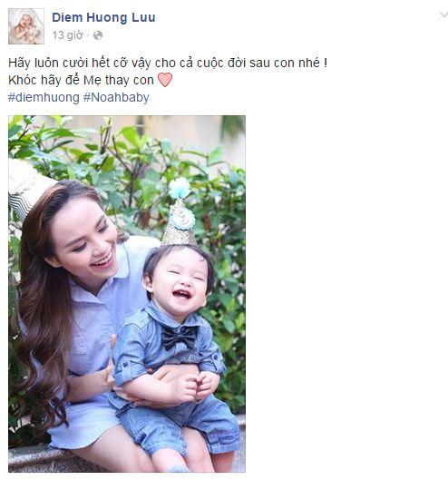 Facebook sao Việt:  Hoa hậu Diễm Hương hạnh phúc bên con trai 1