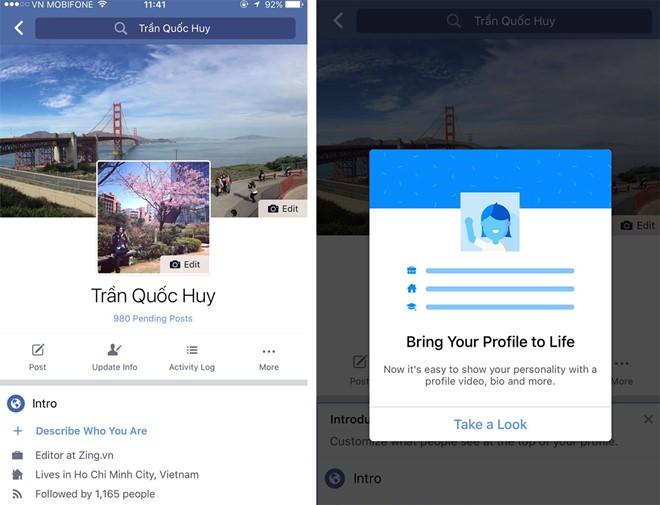 Hình ảnh Facebook thay đổi vị trí ảnh đại diện, tích hợp tin nhắn SMS số 1