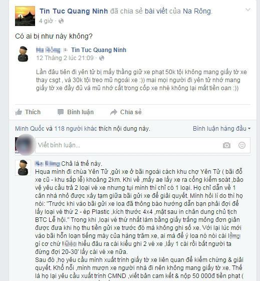Dân mạng tố người giữ xe Yên Tử phạt dân như CSGT! 1