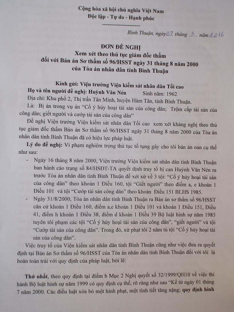 'Người tù thế kỷ' Huỳnh Văn Nén tiếp tục kêu oan 1