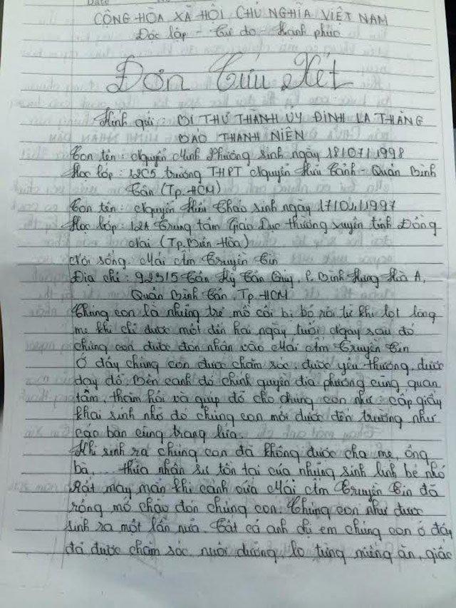 Hình ảnh Hai nữ sinh mồ côi viết tâm thư cầu cứu Bí thư Đinh La Thăng số 1
