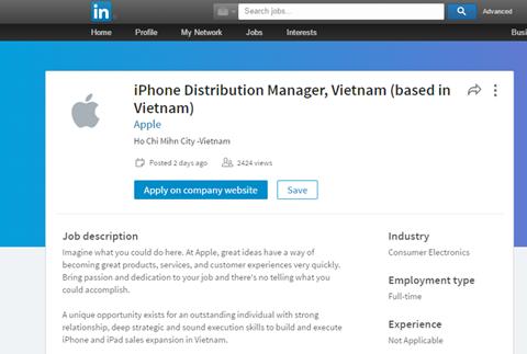 """Apple tuyển giám đốc tại Việt Nam với mức lương """"khủng"""" 1"""