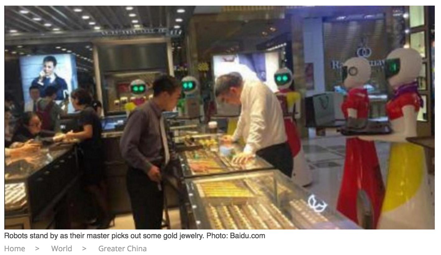 Đại gia đi mua sắm với dàn osin robot gây xôn xao mạng Trung Quốc 1
