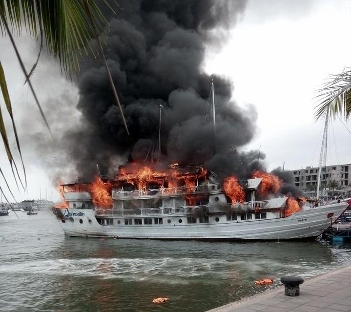 Tàu du lịch bốc cháy dữ dội ở cảng Tuần Châu, du khách nhảy xuống biển 1