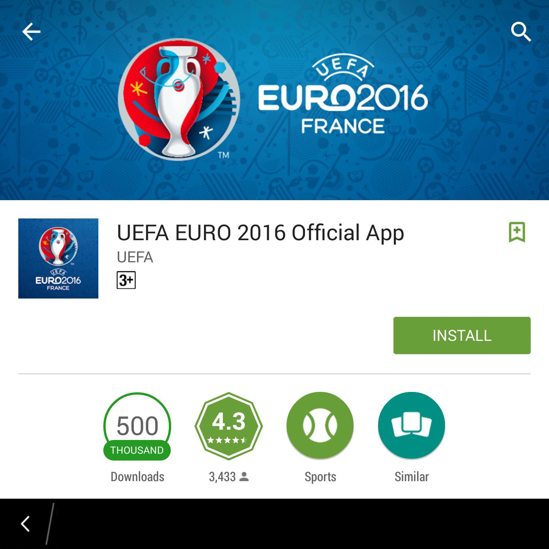 Hình ảnh UEFA EURO 2016 Official App Ứng dụng giúp cập nhật thông tin về Euro 2016 số 1