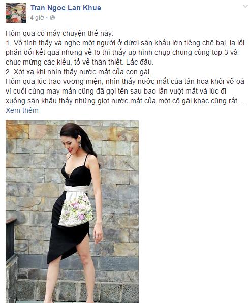 Facebook sao Việt: Lan Khuê lắc đầu khi có người phản đối kết quả của Hoa khôi Áo dài 1