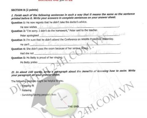 Đề thi, đáp án môn tiếng Anh THPT Quốc gia 2016 mã đề 642  7