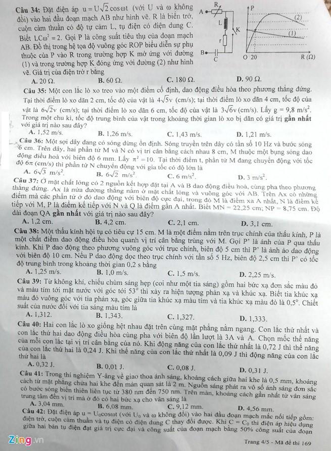 Đáp án đề thi môn Vật lý THPT quốc gia 2016 mã đề 169 5