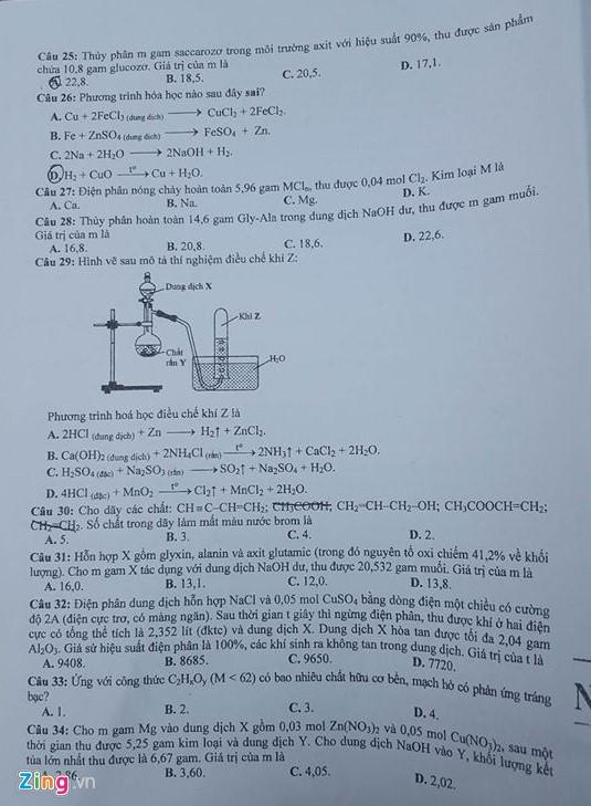 Đề thi môn Hóa học THPT quốc gia 2016 3
