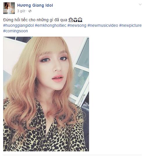 Facebook sao Việt: Fan choáng với ngoại hình khác lạ của Hương Giang Idol 1