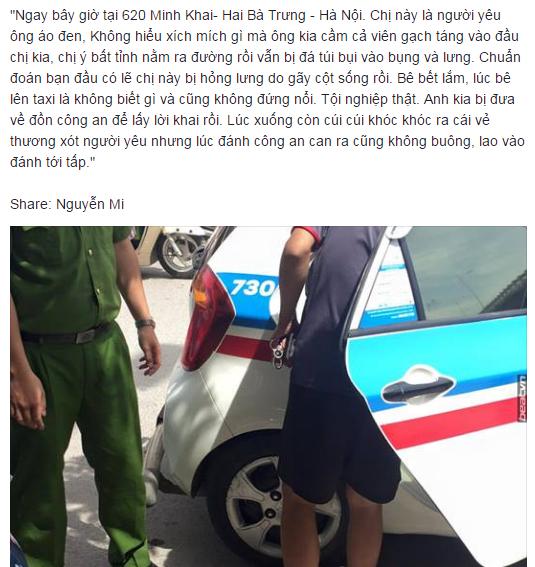 Thanh niên cầm gạch đánh bạn gái nhập viện trên phố Hà Nội 1