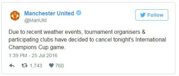 Mưa lớn tại Trung Quốc, trận derby Man City - MU bị hoãn 1