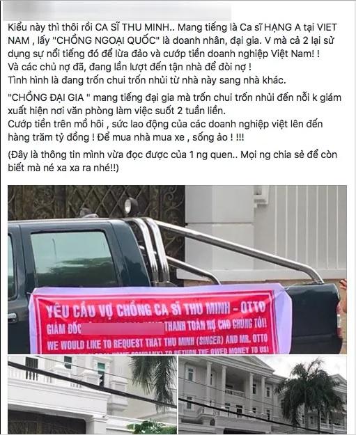 Thực hư thông tin vợ chồng Thu Minh bỏ trốn vì chủ nợ đến tận nhà 1