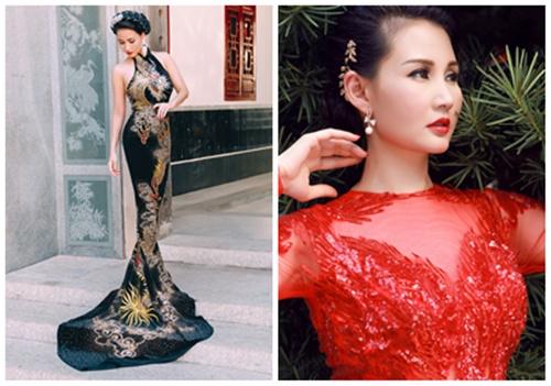 Giải trí - Hoa hậu Quý bà Sương Đặng gợi cảm với váy dạ hội họa tiết rồng