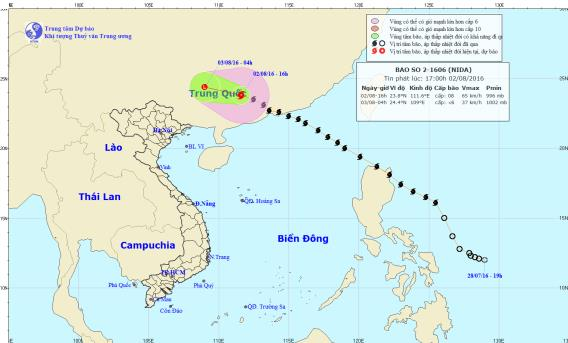 Bão Nida chuẩn bị suy yếu thành áp thấp nhiệt đới 1