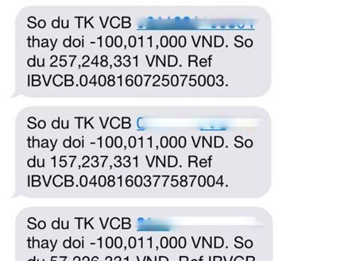 Chủ Thẻ Vietcombank Mất 500 Triệu: Tin Nhắn Thông Báo Giao Dịch. Ảnh Báo Vov