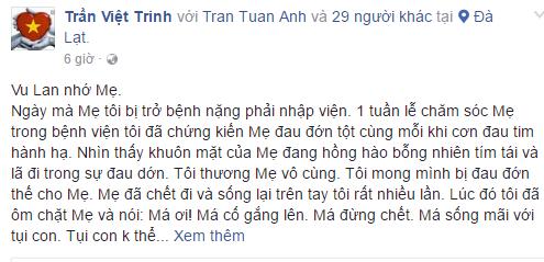 Việt Trinh tâm sự đầy xúc động về người mẹ quá cố trong ngày lễ Vu Lan 1