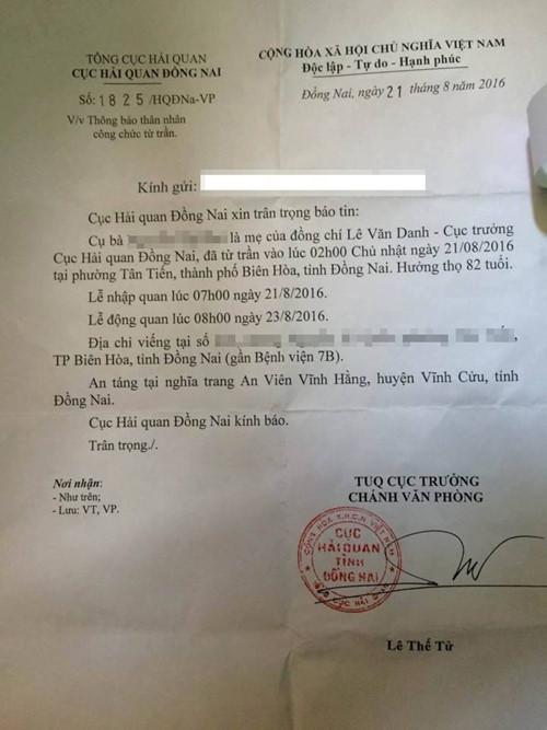 Cục Hải quan gửi văn bản thông báo việc mẹ Cục trưởng từ trần 1
