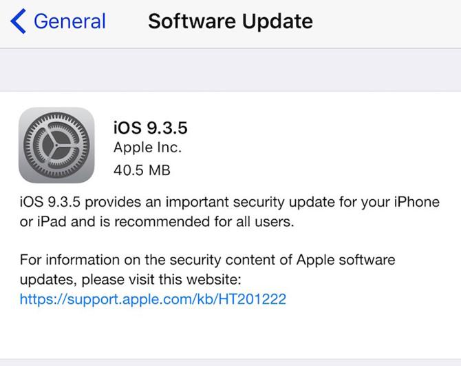 Apple tung ra bản vá iOS 9.3.5 chống tin tặc 2