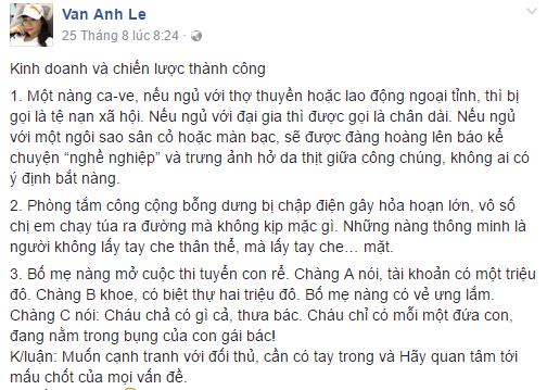 Facebook sao Việt: Hồ Ngọc Hà cao tay đáp trả đả kích vợ đại gia Kim Cương 1