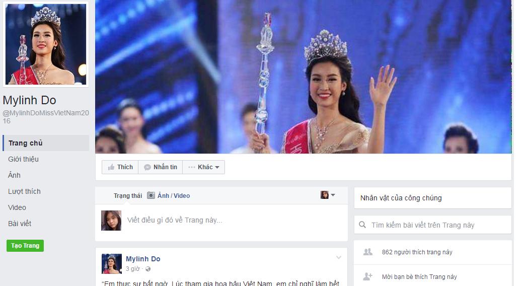Đăng quang Hoa hậu, Đỗ Mỹ Linh khóa ngay facebook 9