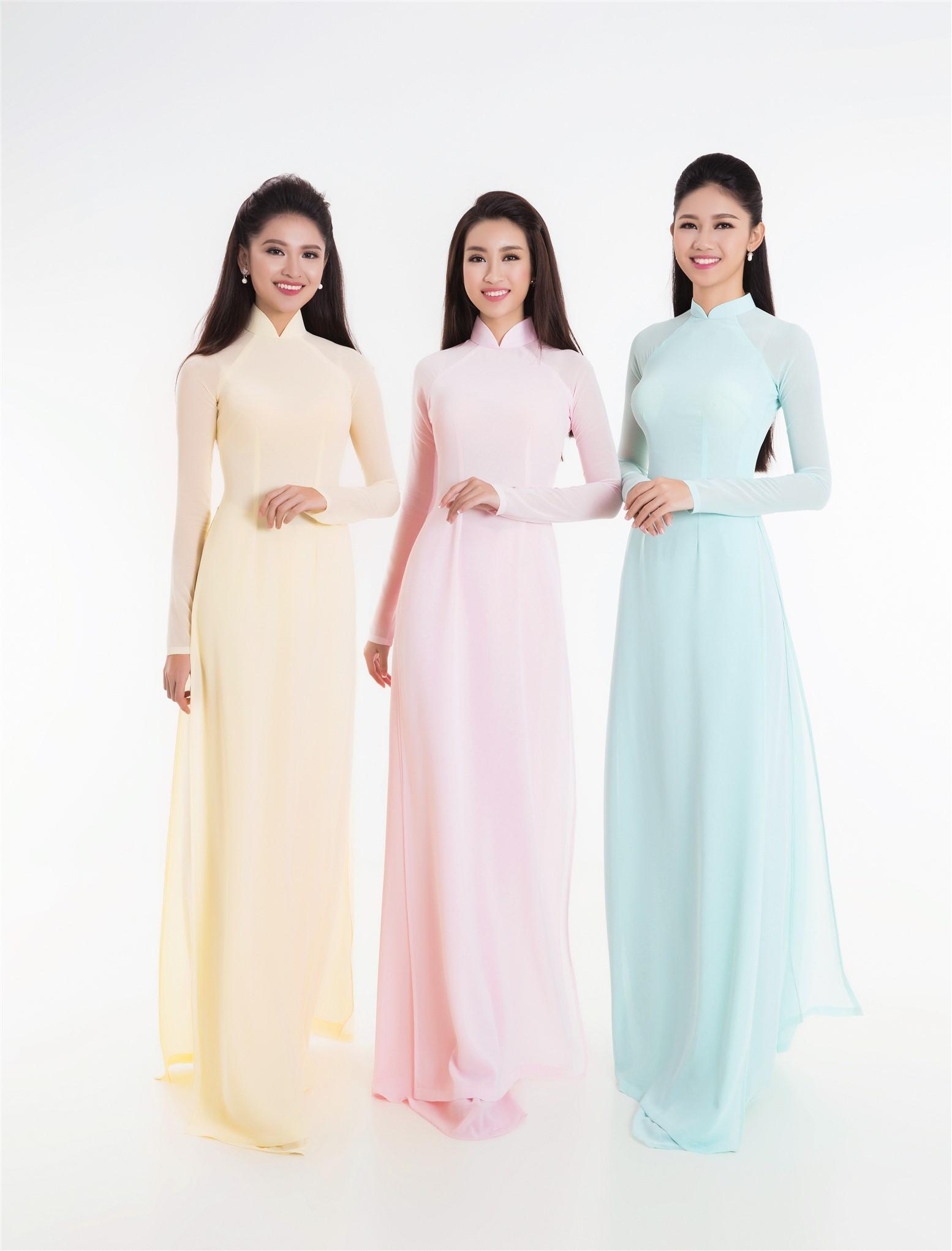 Tân Hoa hậu Đỗ Mỹ Linh và hai Á hậu đọ sắc trong tà áo dài 1