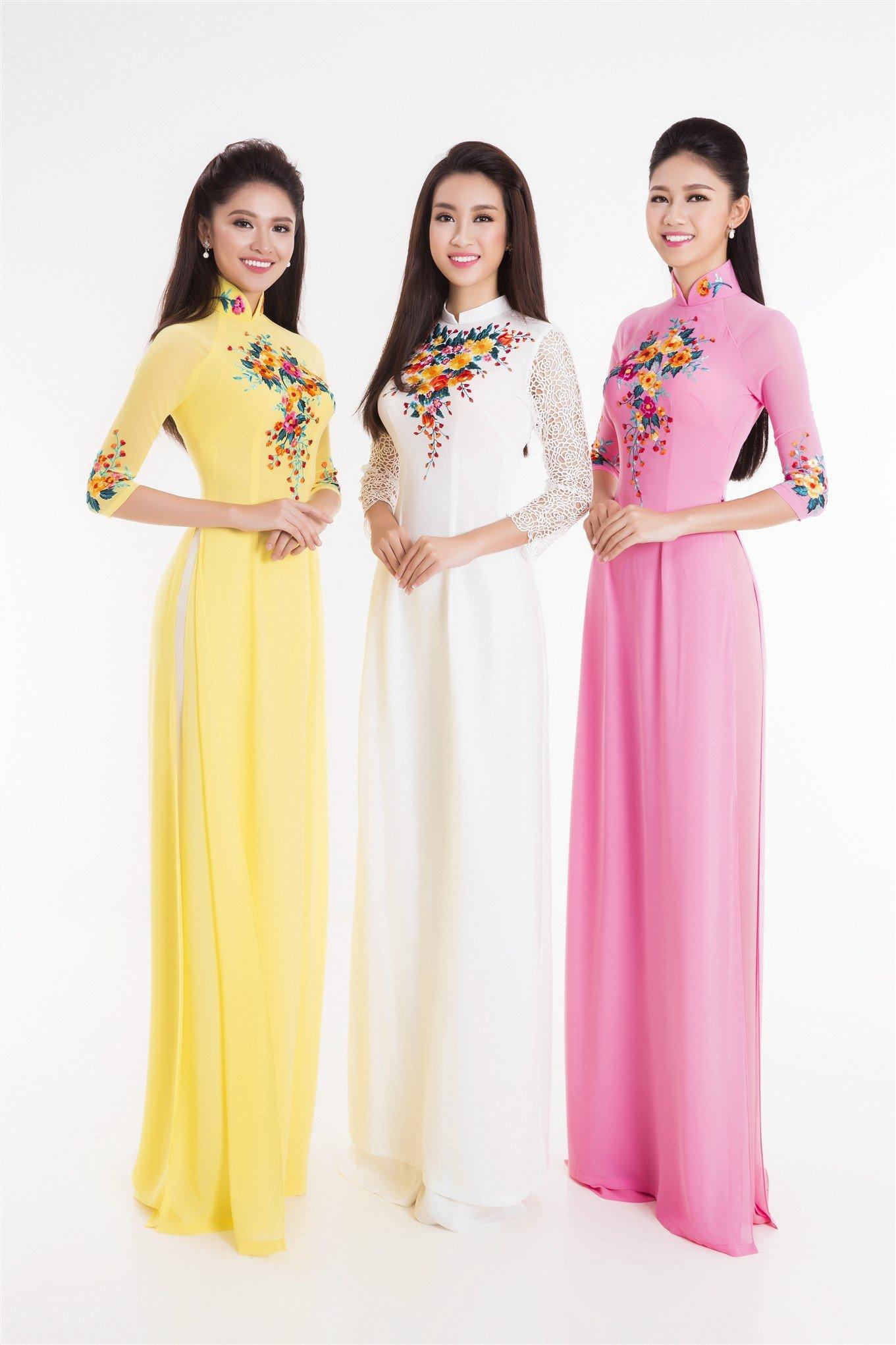 Tân Hoa hậu Đỗ Mỹ Linh và hai Á hậu đọ sắc trong tà áo dài 2