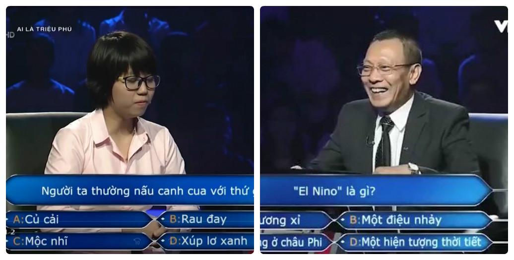 Hình ảnh MC Lại Văn Sâm lúng túng trước phần thi Ai là triệu phú của