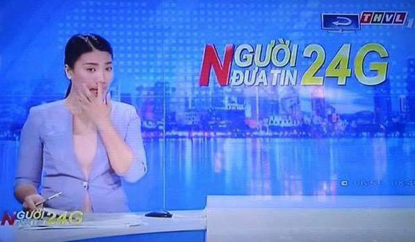 Nữ MC vô tình để lọt khoảnh khắc tế nhị trên sóng truyền hình 1