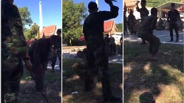 Video: Binh sĩ Thái Lan bị đánh dã man vì không hoàn thành bài huấn luyện 1