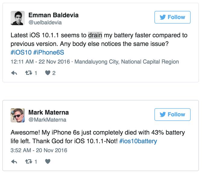 iOS 10.1.1 lỗi khiến iPhone nhanh hết pin? 1