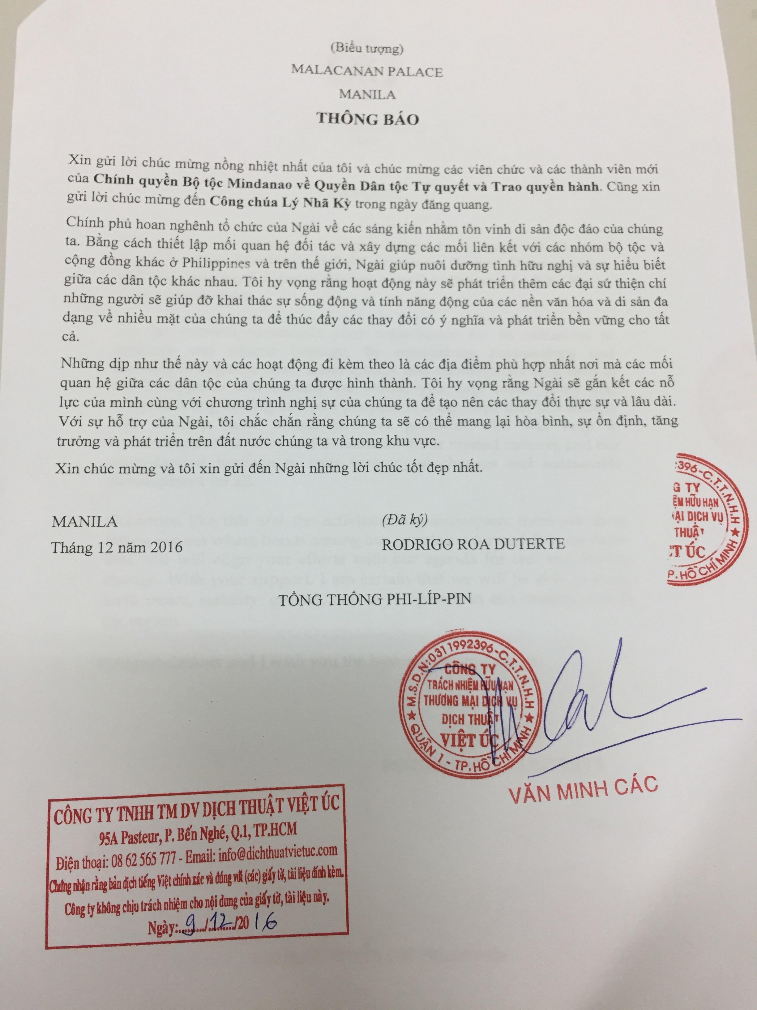 Tổng thống Philippinnes gửi thư chúc mừng Công chúa Lý Nhã Kỳ trong ngày đăng quang 1