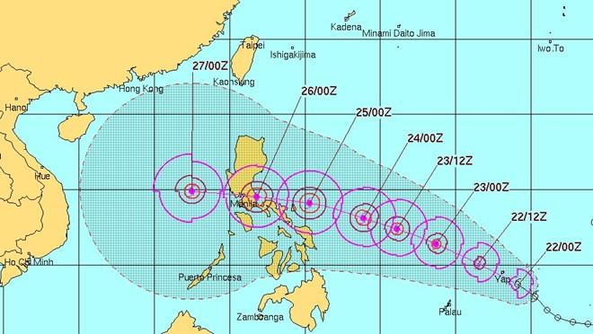 Xuất hiện cơn bão Nock-ten đang hướng vào Biển Đông 1
