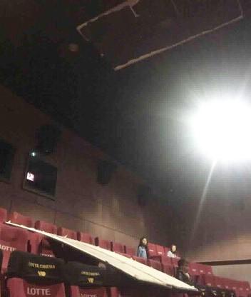 Cô gái bị mảng trần rơi trúng đầu khi xem phim tại rạp Lotte Keangnam 1